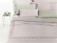 Coordinato letto ricamato in lino CERCHI | Coordinato letto - Decor