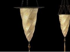 Lampada a sospensione in vetro CESENDELLO WITH METAL RING | Lampada a sospensione in vetro - GLASS LAMPS