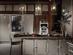 Cucina professionale su misura in acciaio con penisolaCHAMPAGNE & SATIN NICKEL - OFFICINE GULLO