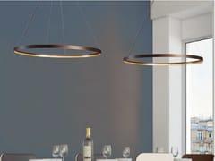 Lampada a sospensione a LED a luce diretta e indiretta regolabile in acciaio CIRCLE 80 -