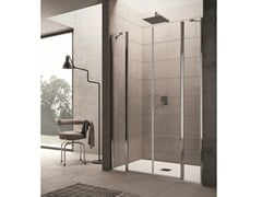 INDA®, CLAIRE DESIGN - 10 Box doccia a porta saloon con due elementi fissi per nicchia