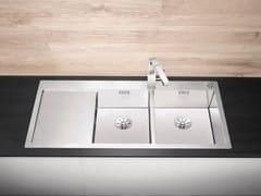 Lavello a 2 vasche filo top in acciaio inox con gocciolatoio BLANCO CLARON 8 S-IF - Blanco Claron
