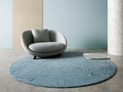 Tappeto rotondo in lana a motivi geometrici CLASSIC LINKS -