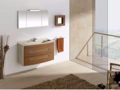 Mobile lavabo sospeso in MDF con cassetti e con specchio COLORS CUOIO 03 - Colors