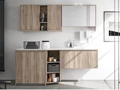 Mobile lavanderia in legno con lavatoioREGOLA COMP.10 - CERASA
