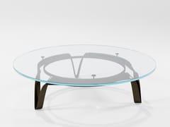 Tavolino in cristallo e lama di ferroCOMPASSO | Tavolino in cristallo - BAREL