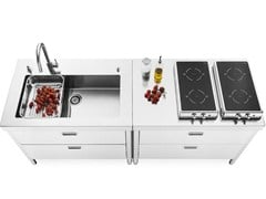 Elemento cucina con piano cottura ribaltabile e vascaCUCINA 100 - ALPES-INOX