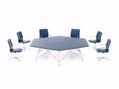 Tavolo da riunione esagonale in cuoio CONSILIUM | Tavolo da riunione - Consilium