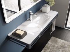 Lavabo singolo in vetro con porta asciugamaniCONSOLLE | Lavabo con porta asciugamani - Q'IN