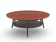 Tavolino basso rotondo in marmo con portarivisteCRADLE | Tavolino - ARFLEX