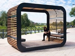 Paravento per dehors in acciaio e legnoCUBE | Paravento per dehors - PUNTO DESIGN