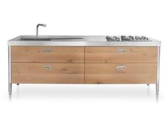 Cucina componibile lineare in acciaio in stile moderno con maniglie integrateCUCINE E CONTENIMENTO 250   Cucina in acciaio inox - ALPES-INOX