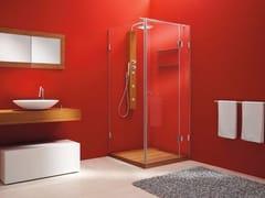 CARMENTA, Box doccia angolare Box doccia angolare in vetro in stile moderno con colonna con piatto