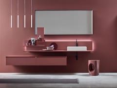 Mobile lavabo singolo sospeso in legno con specchioDAFNE - COMPOSIZIONE 01 - ARCOM