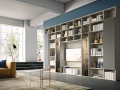 Libreria a parete in legno in stile moderno con illuminazione con porta tv DAY SYSTEM 03 - Day System