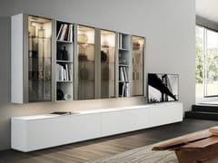 Parete attrezzata fissata a muro laccata in legno in stile moderno con illuminazione integrata DAY SYSTEM 08 - Day System