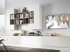 Parete attrezzata fissata a muro laccata in legno in stile moderno con porta tv DAY SYSTEM 10 - Day System
