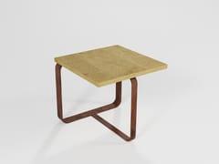 Tavolino in legno impiallacciato e lama di ferro pienoDEDE | Tavolino in legno impiallacciato - BAREL