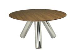 Tavolo rotondo in acciaio inox e legno DEMI-POINTE 3L -