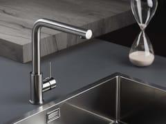 Miscelatore da cucina da piano monocomando in acciaio inoxDIAMETRO35 INOX   Miscelatore da cucina da piano - RUBINETTERIE RITMONIO