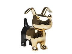 Salvadanaio in ceramica DOG GOLD-BLACK -