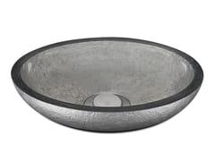 Lavabo da appoggio ovale in resina DOLCE OVAL TEXTURE PLATINUM - DOLCE