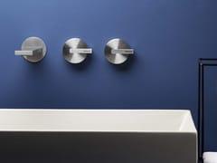 Rubinetto per lavabo a 3 fori a muro in acciaio inox senza scarico DOT316 | Rubinetto per lavabo a muro - DOT316