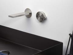 Miscelatore per lavabo a 2 fori in acciaio inox senza scarico DOT316 | Miscelatore per lavabo a muro - DOT316