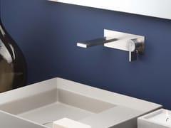 Miscelatore per lavabo a muro monocomando in acciaio inox con piastra DOT316 | Miscelatore per lavabo monocomando - DOT316