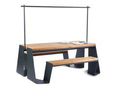 Tavolo da picnic rettangolare in acciaio e legno con panchine integrateDRAGONFLY 2 | Tavolo da picnic - PUNTO DESIGN