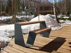Tavolo da picnic in acciaio e legno con panchine integrateDRAGONFLY | Tavolo da picnic - PUNTO DESIGN