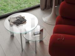 Tavolino di servizio rotondo in vetroDUO - IDEAS GROUP