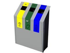 Euroform W, ECO Portarifiuti in metallo con portacenere per raccolta differenziata