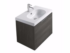 Mobile lavabo singolo sospeso in legno in stile moderno con cassetti EDEN - 5282 - Eden