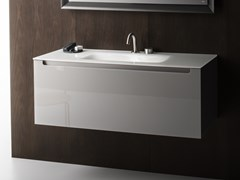 Mobile lavabo singolo sospeso in vetro EDGE | Mobile lavabo - Edge
