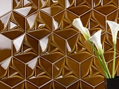 ETRURIA design, CONCETTO SPAZIALE - ESAGONO Piastrelle con superficie tridimensionale in ceramica bicottura per interni