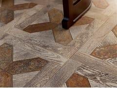 Pavimento in marmo effetto legno per interni ed esterni ESSENCE - QUADROTTA 2 - Acquaforte