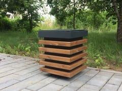 Portarifiuti in acciaio e legno per esterniESTET | Portarifiuti - PUNTO DESIGN