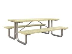 Tavolo da picnic rettangolare in pino con panchine integrateFAMILY - LAZZARI SRL