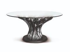 Tavolo in legno finitura nichel scuro e piano in cristalloFICUS | Tavolo rotondo - BELLOTTI EZIO ARREDAMENTI
