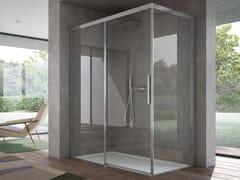 Box doccia angolare in vetro con porta scorrevoleFOCUS | Box angolare apertura lato - DISENIA