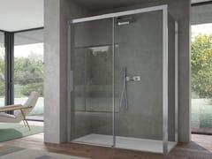 Box doccia angolare in vetro con porta scorrevoleFOCUS | Box angolare apertura muro - DISENIA