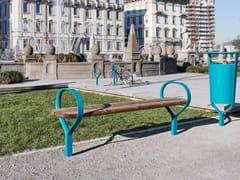 Panchina in legno con braccioli senza schienale FOLK | Panchina senza schienale - Folk