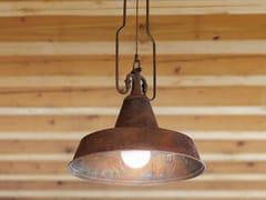 Lampada a sospensione a luce diretta e indiretta in ottoneFONDERIA - ALDO BERNARDI
