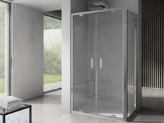 Box doccia angolare in vetro con porta a battenteFREE | Angolare - Porta doppio battente - DISENIA
