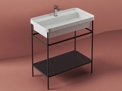 Mobile lavabo da terra in metallo con porta asciugamaniFUORI SCALA | Mobile lavabo in metallo - ARTCERAM
