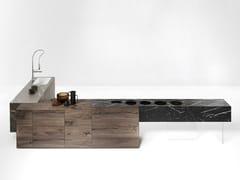 Cucina in vetro stampato e legno36E8 FUSION - LAGO