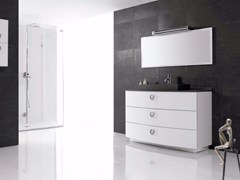 Mobile lavabo in poliuretano con cassetti e con specchio FUSSION PLANO 03 - Fussion