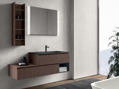 Mobile lavabo singolo sospeso in legno con cassettiGALAXY 05 - BMT
