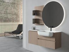 Mobile lavabo sospeso in legno con specchioGALAXY 16 - BMT